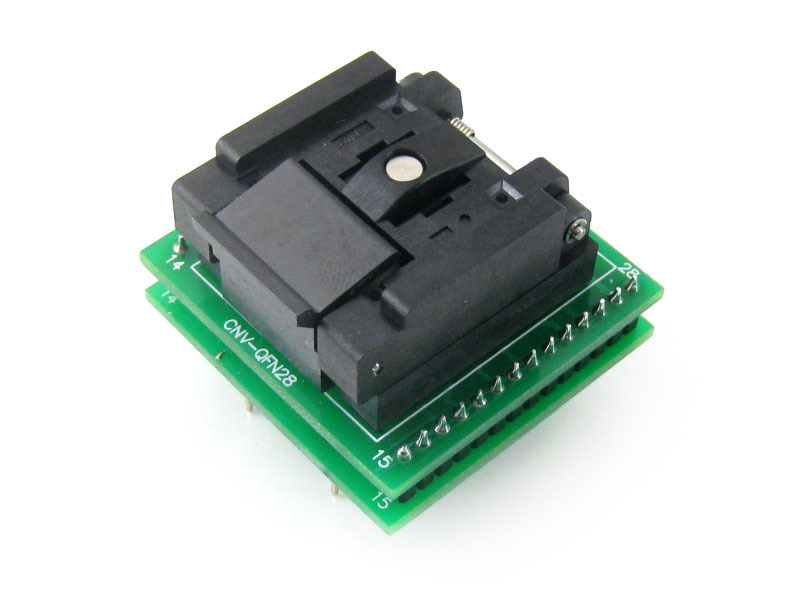 Waveshare QFN28 TO DIP28 (C) Enplas IC Test Socket Programmer Adapter 0.65mm Pitch for QFN28 MLF28 MLP28 Package parts ssop24 ic test socket tssop24 fp 24 0 65 01a enplas programmer adapter with 24 pins 5 6mm body width 0 65mm pitch