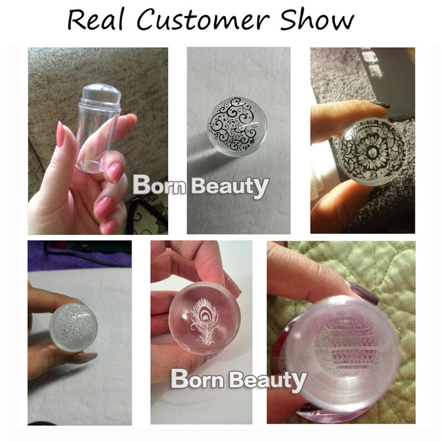1set Unique New Design Pure Clear Nail Art Stamper Scraper Set with Cap 2.8cm Transparent Silicone Marshmallow Nail Stamp Tools