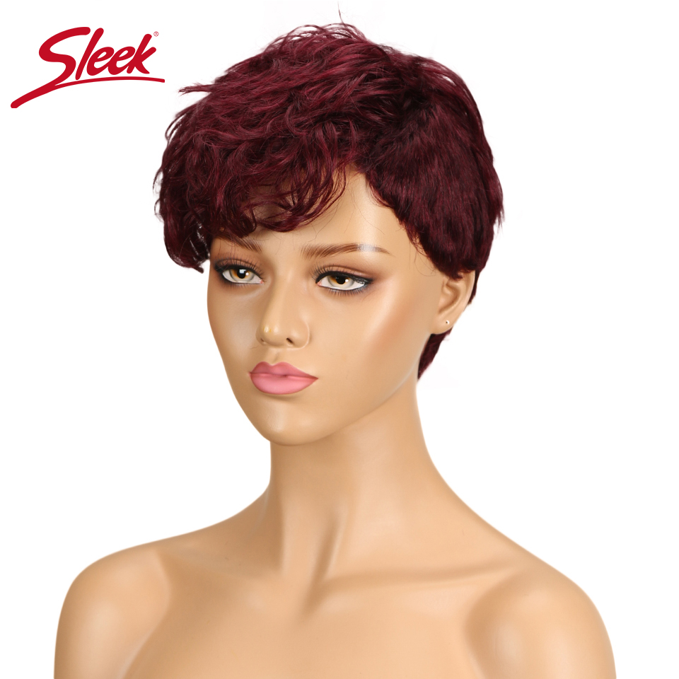 Sleek Brazlian Wavy Human Hair Wigs For Black Women Remy Perruque Cheveux Humain Hair Wigs Wet And Wavy Free Shipping