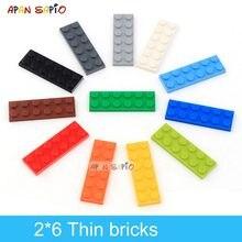 Bloques de construcción DIY para niños, 40 Uds., figuras finas, bloques, 2x6 puntos, 12 colores, educativo, tamaño creativo, Compatible con 3795, Juguetes