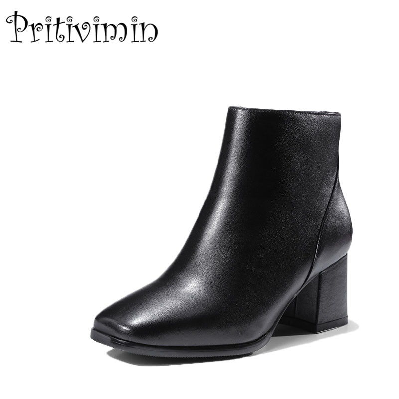 2018 New spring autumn brand ladies high quality shoes woman black genuine leather thick low heel ankle boots Pritivimin FN116