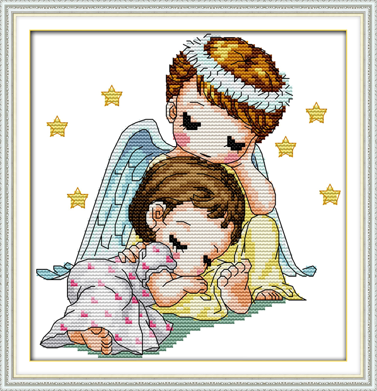 Joy sunday cartoon style Guardian angel counted cross stitch patterns for kids room ornament