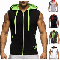 Men Cotton Hoodies Sweatshirts Fitness Clothes Gym Bodybuilding Tank Top Sleeveless Sport Tees Shirt Casual Gym