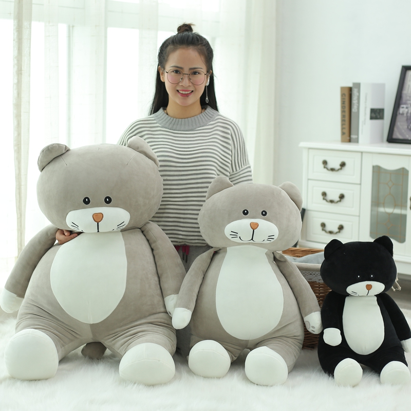 1pc New 60cm 75Cm Super cute cat plush toys soft warm pillow cushion stuffed cartoon pillow Kids birthday gift 2 Colors hot sale cute dolls 60cm oblong animals pillow panda stuffed nanoparticle elephant plush toys rabbit cushion birthday gift