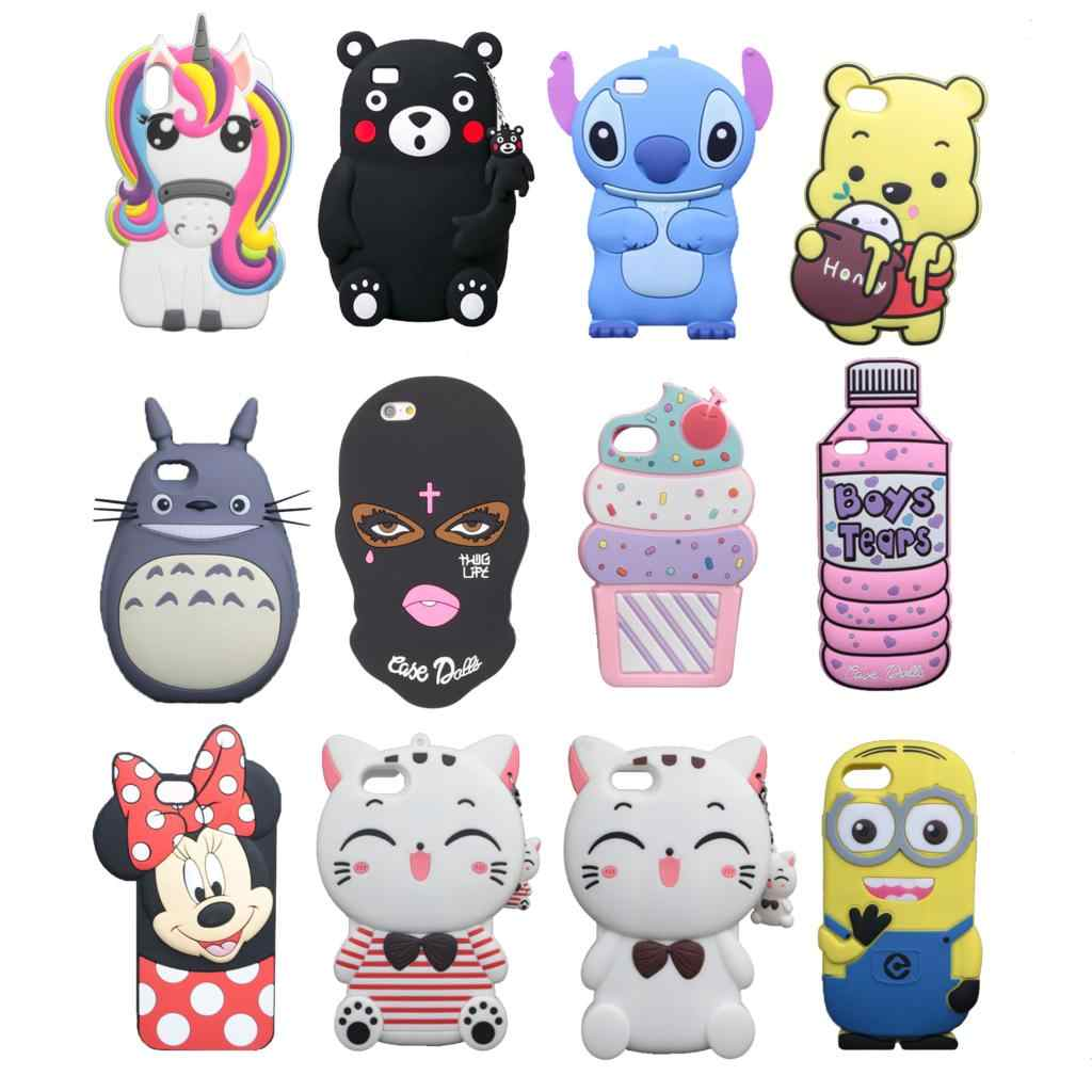 for iPhone 7 8 Plus X XS Max XR 9 4 4S 5 5S 6 6S Case 3D Cute Cartoon Soft Silicone Cover Lovely Cat Bottle Stitch Unicorn