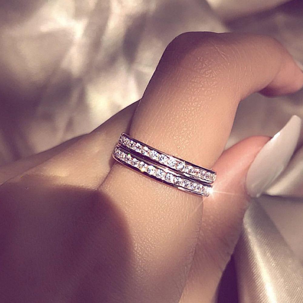 IPARAM Серебряный инкрустированный Циркон в один ряд кольцо для женщин пара кольцо из нержавеющей стали ювелирные изделия Роскошные обручальные кольца ювелирные изделия подарок