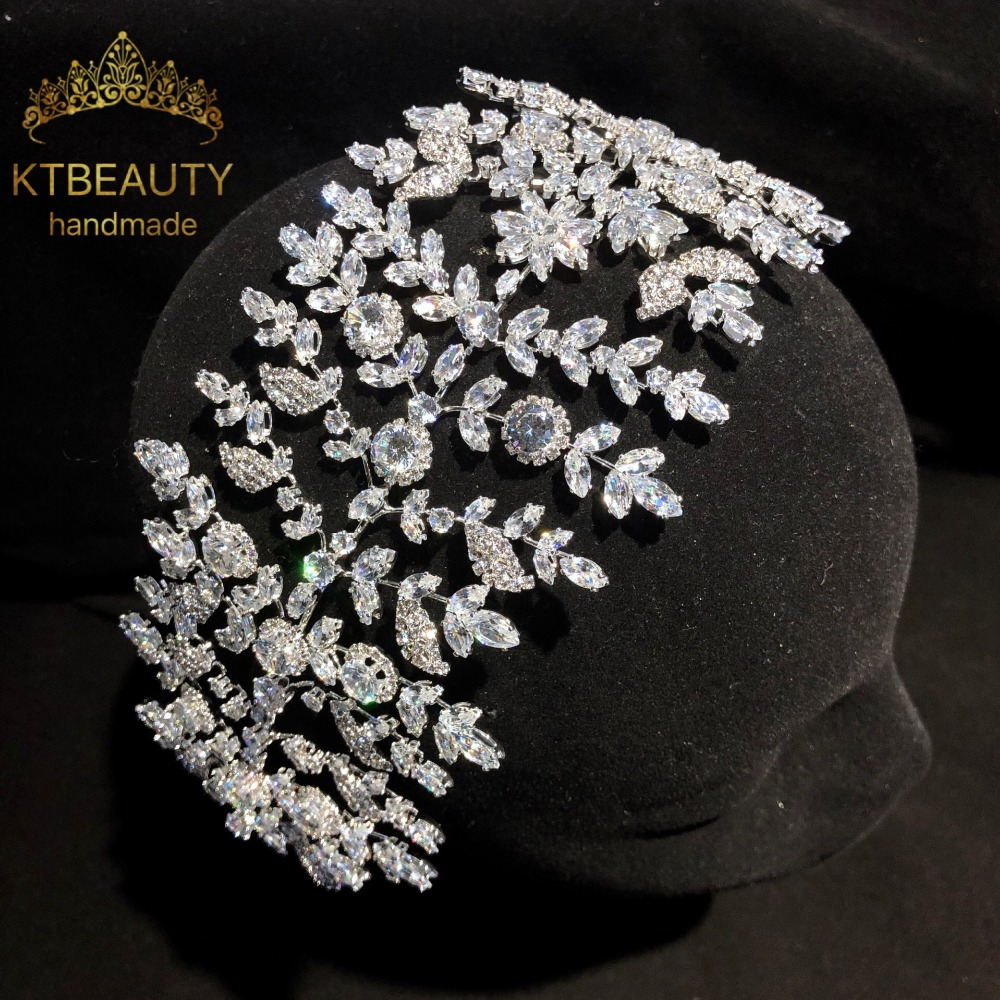 New Luxury Crystal Silver zircon Crown Tiara Bigger Custom Made Rhinestones Royal Queen Princess Pageant Party Crown Bridesmaids-in Hair Jewelry from Jewelry & Accessories    1