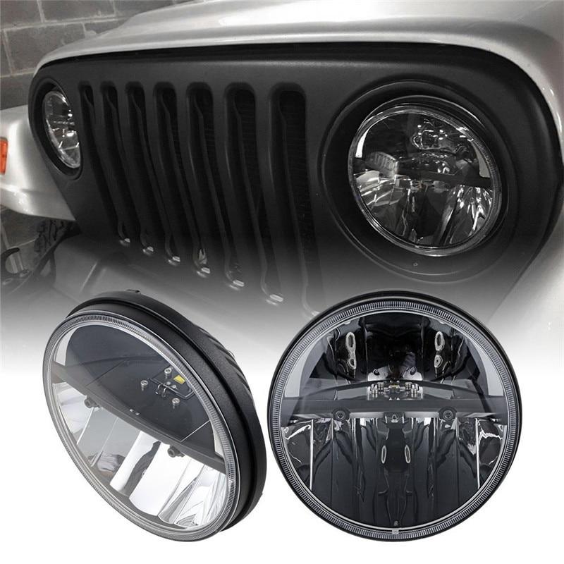 1 Pair  7 Round Auto Led Headlight With H4 Plug 7 Round High Low Beam H4 Led Headlamp For Jeep Wrangler Land Rover Defender h4 led headlight pair plug