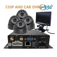 4CH GPS 3G HD 720P AHD SD Car DVR MDVR Video Recorder Real Time Monitor Via