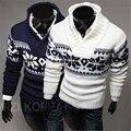 2017 marca de Moda Men Camisola do Pulôver Masculino de Alta qualidade Outono inverno flocos de neve padrão camisola Dos Homens Casual Brasão Plus Size M-XXL