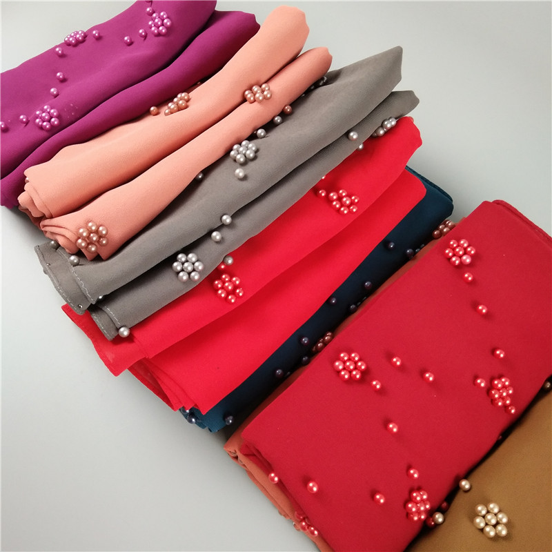Popular bubble chiffon scarf scarves pearls decor women muslim hijab headbands shawls fashion foulard 22 color mulffer 180*70cm