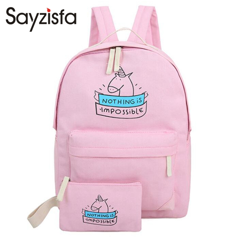 Sayzisfa Brand New Women canvas backpacks fashion 2017 cute travel bags unicorn printing bookpack backpack for teenage girlsT372 deanfun emoji backpack 2016 new fashion women backpacks 3d printing bags drawstring bag for men s79