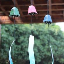 Japanese Style Cast Iron Wind Chime Bell Metal Home Garden Yard Decor Ornament Pentagonal Flower