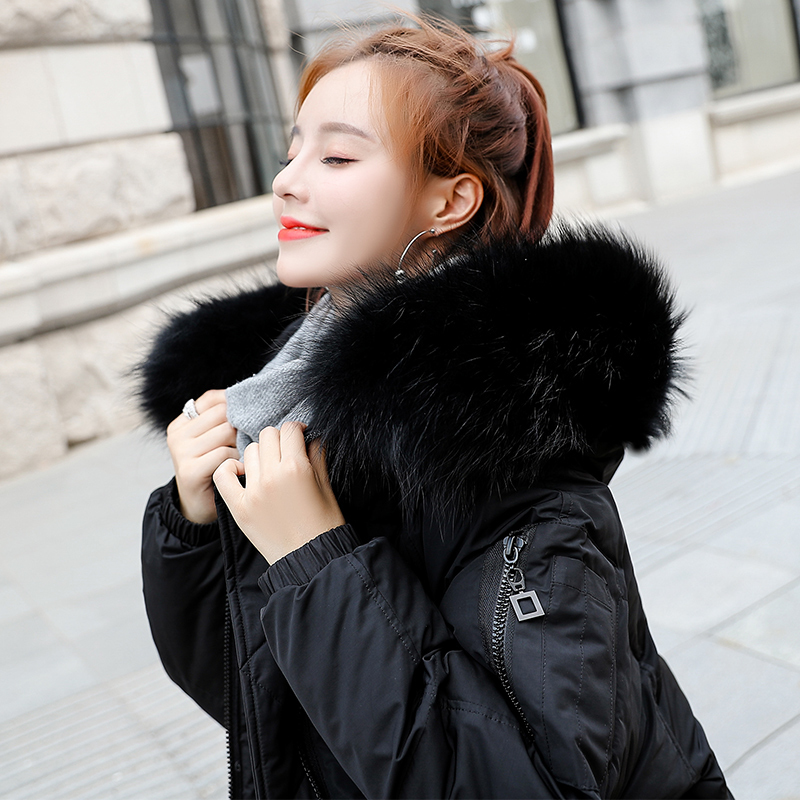 ca485f75480 2018 Warm Hooded Fur Collar Overknee Long Parka Plus Size Winter Jacket  Women Coat Thick Cotton Padded Loose Inverno Casaco