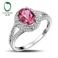 Caimao 14K White Gold Natural 1.73ct Pink Tourmaline Diamond Engagement Ring