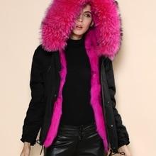 Новая черная зимняя куртка женская верхняя одежда толстые парки Плюс Размер енот собака природный натуральный мех воротник пальто с капюшоном pelliccia