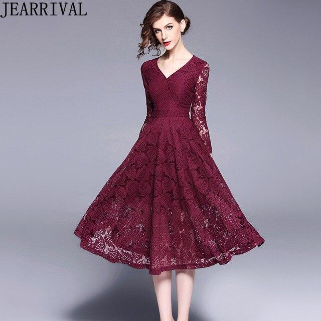f83e50045fc9 2018 New Fashion Wine Red Lace Dress Women Elegant Three Quarter Sleeve  Hollow Out A-Line Vintage Party Dress Vestido De Festa