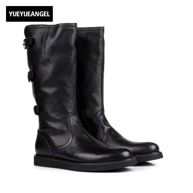 Italian Brand Mens Knee High Boots Personality Buckle Motorcycle Biker Footwear Genuine Leather Flats Knight Boots Martin Shoes 2017 free genuine leather motorcycle boots biker shoes women pointed snow boots brand shoe famous designer woman flats