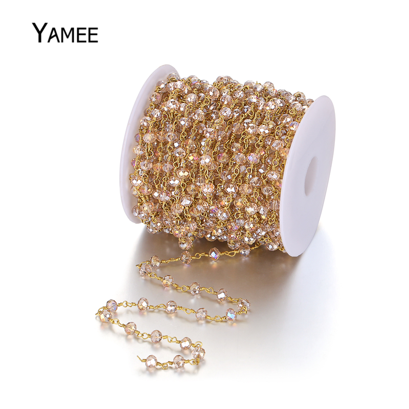 Yamee Faceted Crystal Beads Chain Pure Gold Rosary Chain Cut Champagne Crystal Natural Stone Beads For DIY Jewelry Making 5M/Lot 210pcs lot 10 14mm pear drop crystal fancy stone point back teardrop droplet glass stone for jewelry making diy accessory