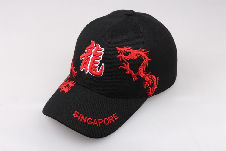 China Dragon Embroidery Cotton Baseball Cap Adjustable Snapback Cap For Men And Women 324