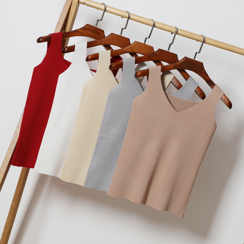 Knit Camis Summer Women Slim V-neck Knitting   Tank     Tops   Girls Knitted Camisole Solid Sleeveless T-shirts   Top   for Female