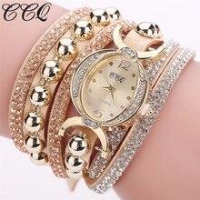 Дропшиппинг Для женщин горный хрусталь браслет смотреть Роскошные Для женщин Кристалл Наручные часы кварцевые часы женский часы Relogio Feminino подарок