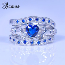 Bamos Brand Blue Heart Women Ring Sets Claddagh Rings 925 Si