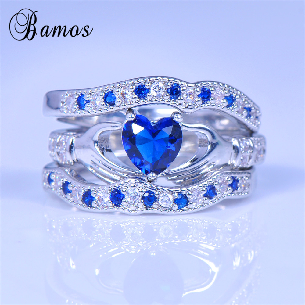 Bamos Brand Blue Heart Women Ring Sets Claddagh Rings 925 Silver Bohemian Wedding  Rings For Women