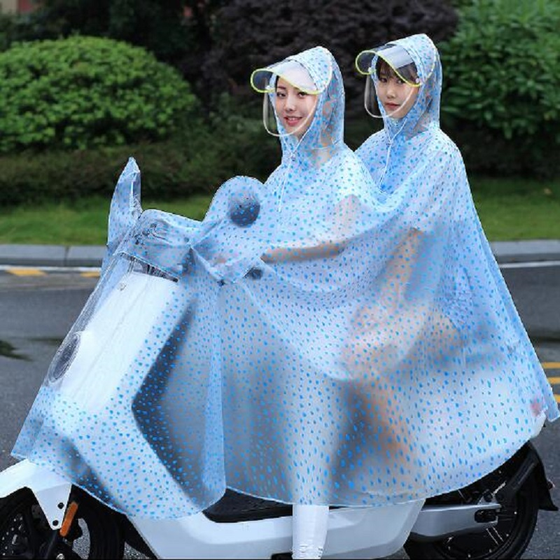 Two person Raincoat Motorcycle Raincoats Portable Windproof Women Rainwear Rain Coat Large Size Transparent Poncho Scooter