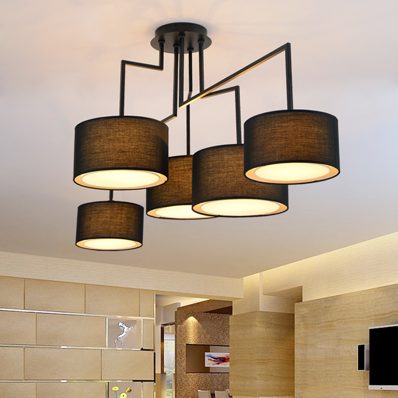Black Color Fabric Shade Nordic Style Ceiling Lamp Living Room Bed Home Decoraiton