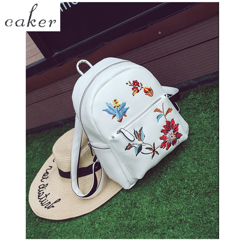 Caker Brand 2017 Women Fashion Top Embroidery Flower Backpack White Black School Bags For Teenagers Shopping