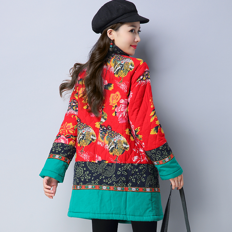 Mince Manteaux Veste 2017 Femmes De Parka Hiver Ethnique Jaqueta Mujer Chaquetas Vintage Outwear Automne Imprimer Nouveau Feminina Femelle Base Stqw0OFgx