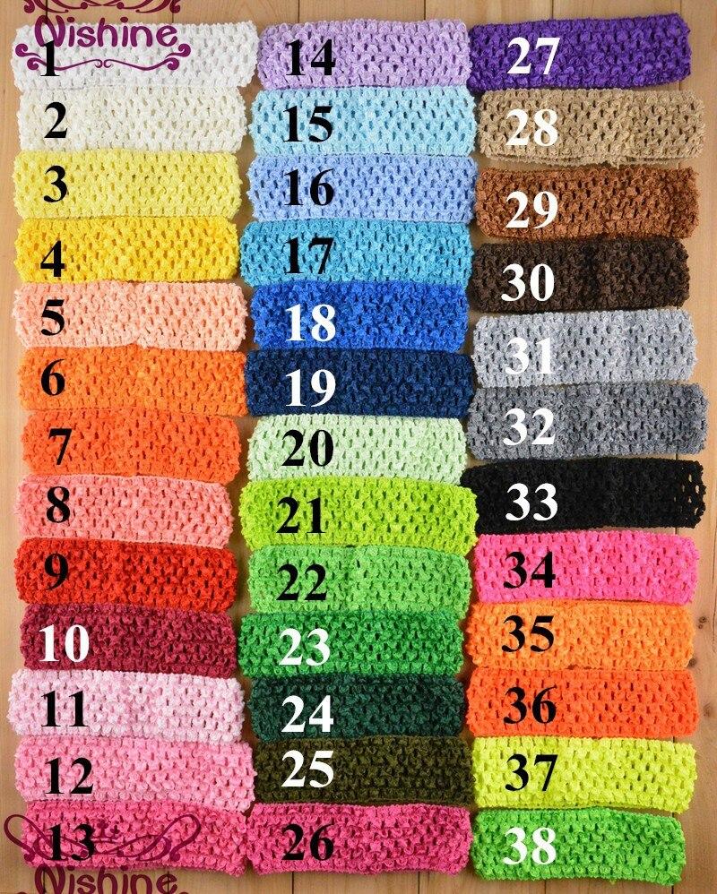 Nishine 50pcs/lot 1.5 Inch Elastic Crochet Headbands Girls Waffle   Headwear   DIY Children Hair Band Hair Accessories