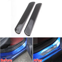 BBQ FUKA 2x Carbon Fiber Door Sill Scuff Cover Plate Panel Protect Trim For Universal Car