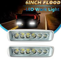 Flood Fog Light 2pcs 6 Backup DRL Straight Driving Pods Grill Reverse Hidden Bumper LED Work
