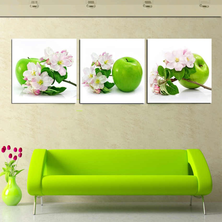 Home Decor Canvas Painting 3 Piece Wall Art Green Apple And Pink Flower Decorative Pictures For House Room Wall Decor No Frame Decorative Pictures Canvas Painting3 Panel Wall Art Aliexpress