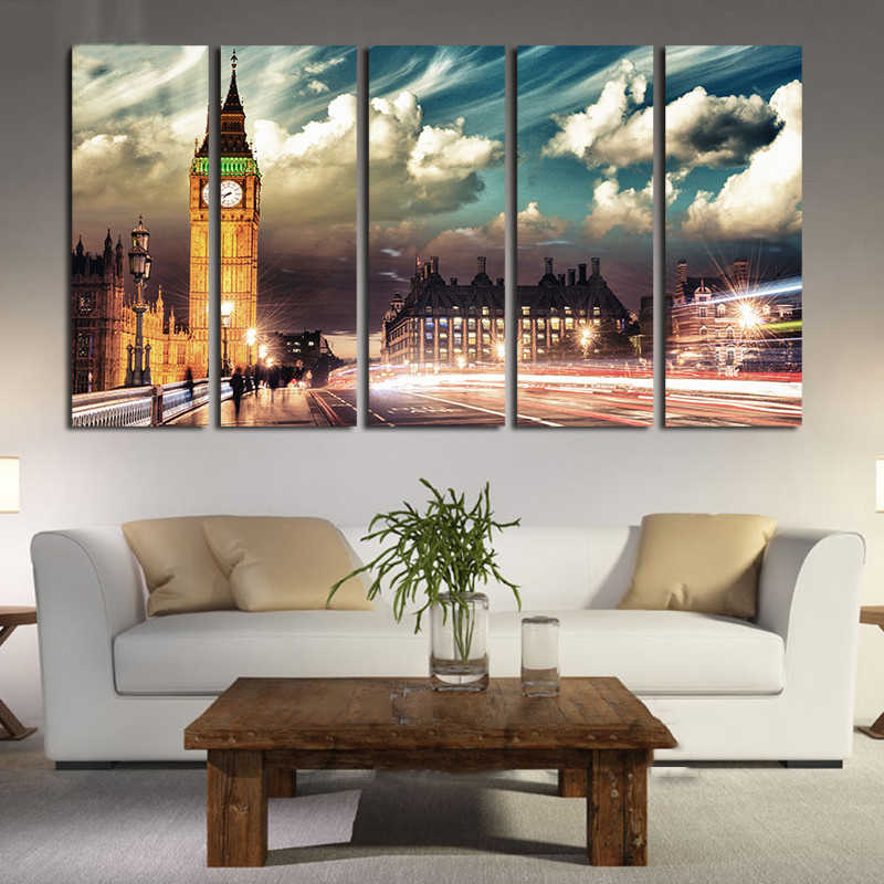 Frame HD Prints Living Room Wall Decor Pictures 5 Pieces London City Skyline Big Ben Scenery Paintings Art Poster Modular Canvas