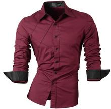 Jeansian Men's Fashion Dress Casual Shirts Button Down Long Sleeve Slim Fit Designer 2028 WineRed long sleeve button down mini shift dress