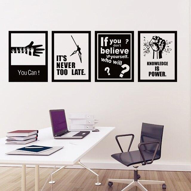 4pcs Set Motivational Words Wall Sticker Self Adhesive