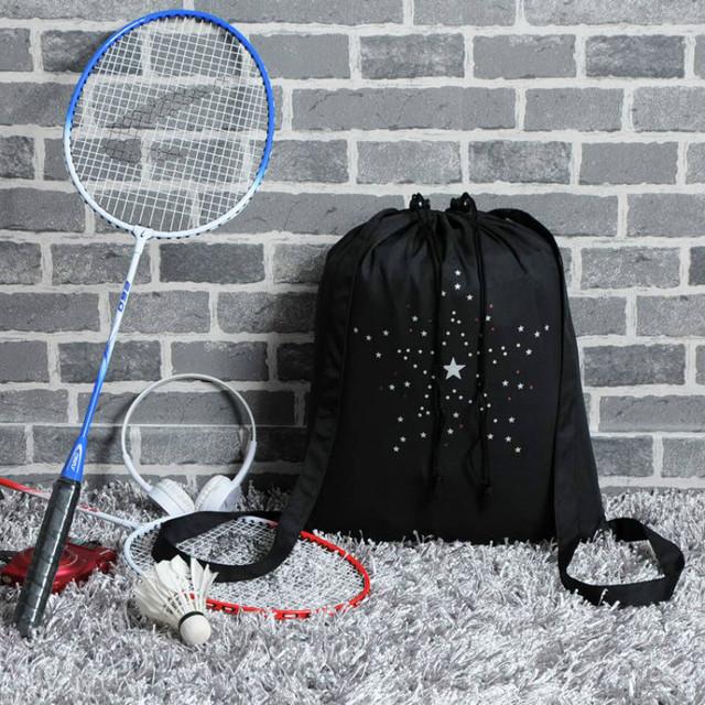 Women's Stars Printed Black Drawstring Bag