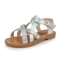 T.S. Dép trẻ em 2017 đôi giày mùa hè mới cô gái Dép giày thường phụ nữ trẻ em da chính hãng dép bạc size26-37