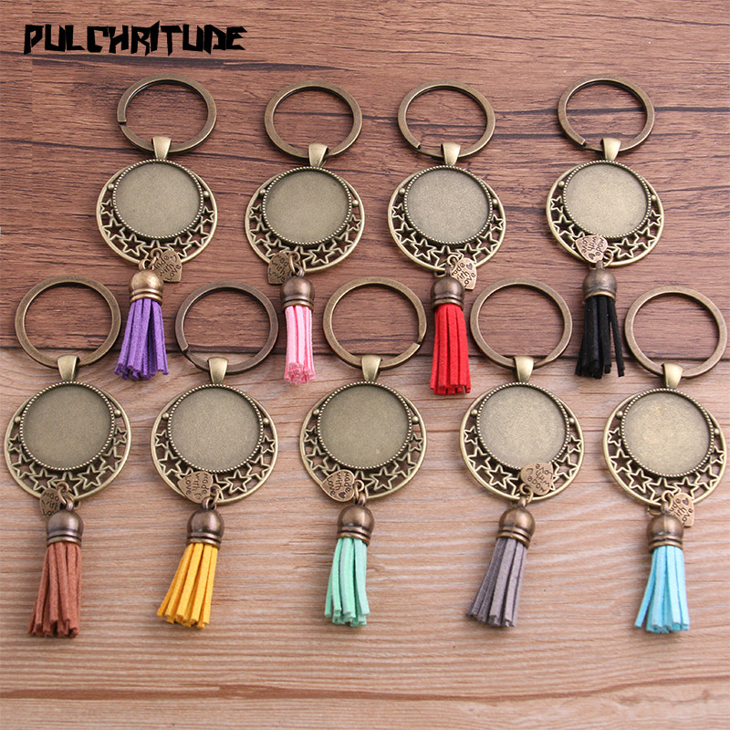 PULCHRITUDE 1pcs Metal 9 Color Tassels Key Rings Chain Filligree Star Fit Round 25mm Cabochon Logo Pendant Diy Jewelry P6720