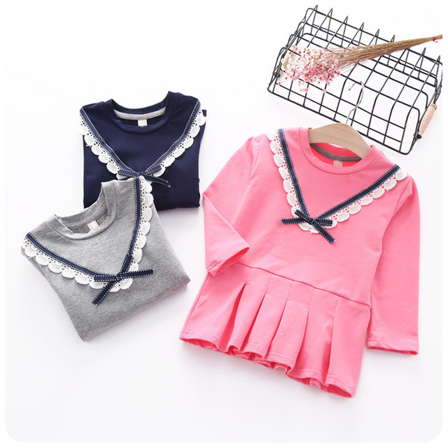 De Calidad superior 3 colores 2016 Chicas con capucha suéter de Los Niños niños Del Otoño Del Resorte lindo Arco de algodón de manga larga t-shirt