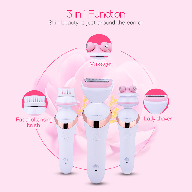 3 In1 Rechargeable Electric Lady Shaver Razor Epilator+Facial Pore Cleansing Brush+Face Beauty Massager Wrinkle Removal Skin SPA deep face cleansing brush facial cleanser 2 speeds electric face wash machine