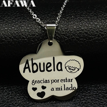 2021 Fashion Abuela Stainless Steel Necklaces for Women Silver Color Necklaces Pendants Jewelry acero inoxidable joyeria N18285 image