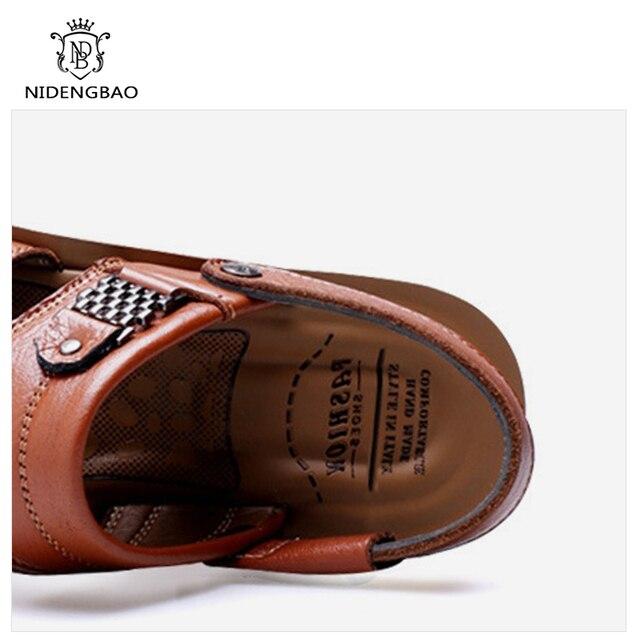 Grande tamanho 48 homens sandálias de couro verão clássico homens sapatos chinelos sandálias macias roman confortável sapatos de caminhada ao ar livre 6