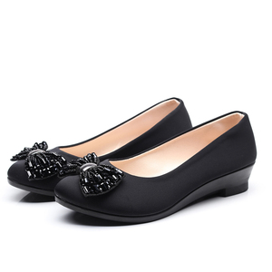 Image 2 - Women Ballet Bow Shoes Black Women Wedges Shoes For Office Work Boat Shoes Cloth Sweet Loafers Womens Pregnant Wedges Shoes