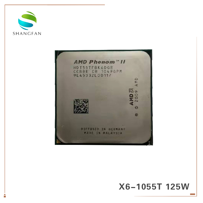AMD Phenom X6 1055T HDT55TFBK6DGR X6-1055T Six-Core Processador CPU de 2.8GHz 125W Soquete AM3 938pin