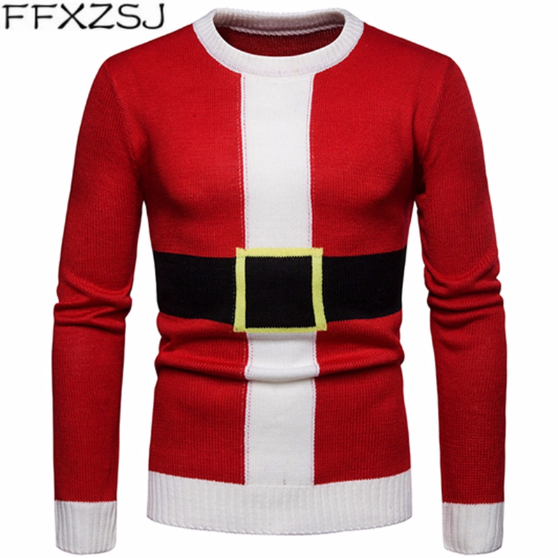 Brand Men's Sweater New Christmas Elements Holiday Casual Round-neck Pullover Knitwear For Men Mens Sweaters Christmas Clothes