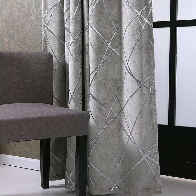 Blackout Jacquard Fabric for Curtains for the Living room Custom Size Ivory Grey Tan American Style